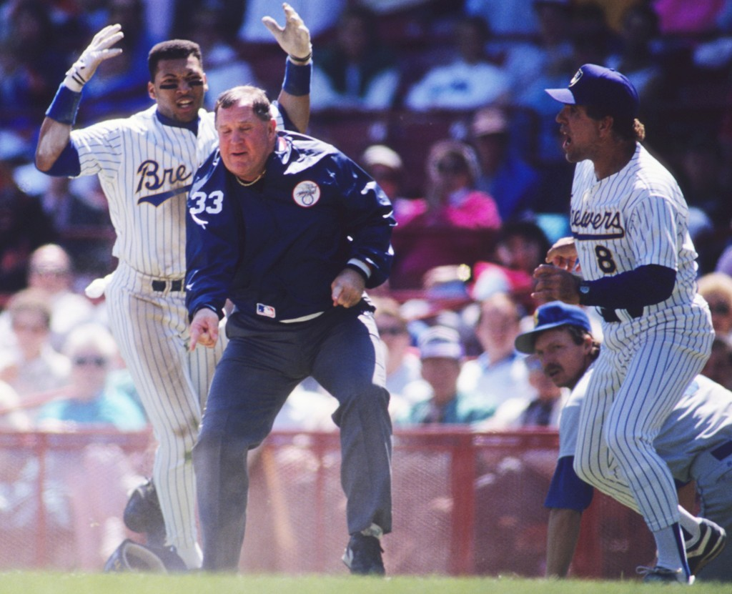 MILWAUKEE, WI - MAY 1990: Gary Sheffield #11 and Andy Etchbarren #8 of the Milwaukee Brewers arguing with umpire Durwood Merill #33 during a game against the Seattle Mariners on May 22, 1990 in Milwaukee, Wisconsin. (Photo by Ronald C. Modra/Sports Imagery/Getty Images)